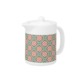 Pink Floral Trellis Vintage Flower Pattern Teapot