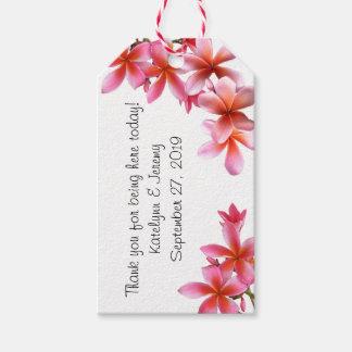 Pink Floral Tropical Plumeria Wedding Tags