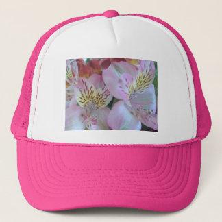 Pink floral trucker hat