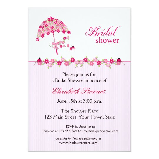 Pink Floral Umbrella, Bridal Shower Invitation