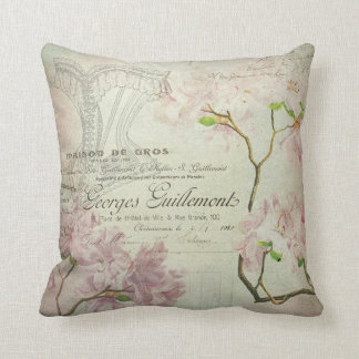Pink Floral Vintage Chic French Script Home Decor Pillow