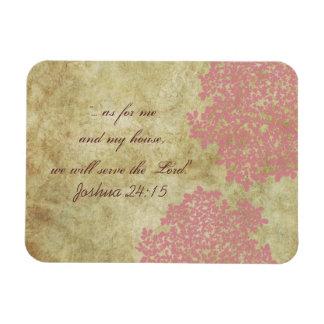 Pink Floral Vintage Rectangular Photo Magnet