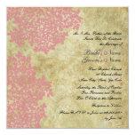 "Pink Floral Vintage Square Wedding Invitations 5.25"" Square Invitation Card"