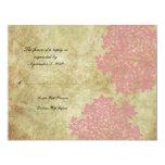 """Pink Floral Vintage Wedding RSVP 4.25"""" X 5.5"""" Invitation Card"""