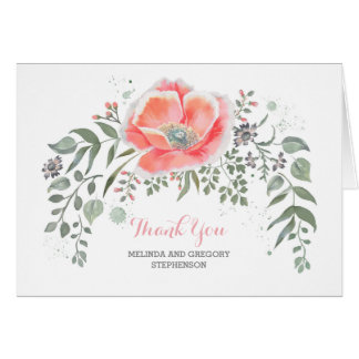 Pink Floral Vintage Wedding Thank You Card