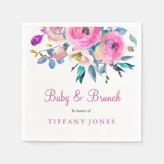 Pink Floral Watercolor Baby & Brunch Napkin