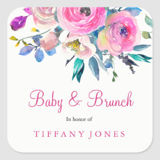 Pink Floral Watercolor Baby & Brunch Sticker