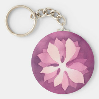 Pink floral watercolor basic round button keychain