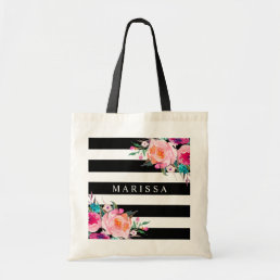 Pink Floral Watercolor Black White Stripe Tote Bag