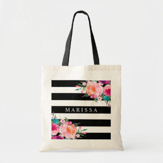 Pink Floral Watercolor Black White Stripe Tote Bag