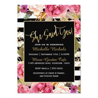 Pink Floral Watercolor Bouquet Bridal Shower Card