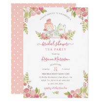 Pink Floral Watercolor Bridal Shower Tea Party Card