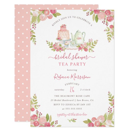 Pink floral watercolor bridal shower tea party invitation zazzle pink floral watercolor bridal shower tea party invitation filmwisefo
