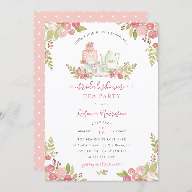 Pink Floral Watercolor Bridal Shower Tea Party Invitation