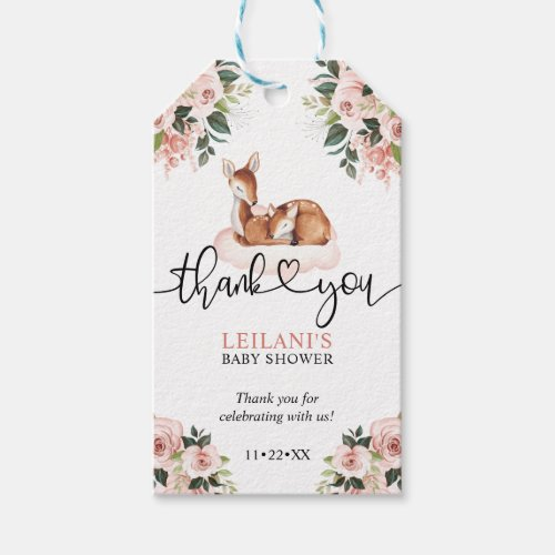 Pink Floral Watercolor Deer Baby Shower Thank You Gift Tags