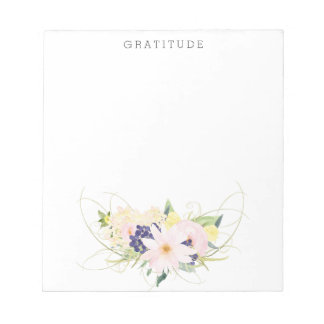 Pink Floral Watercolor Gratitude Notepad