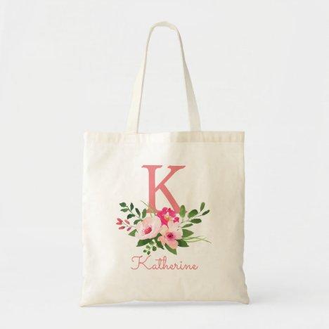 Pink Floral Watercolor Name Monogram Tote Bag