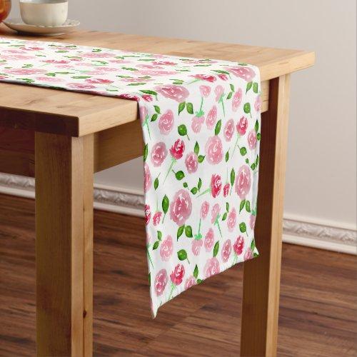 Pink Floral Watercolor Pattern Garden Spring Cute Short Table Runner