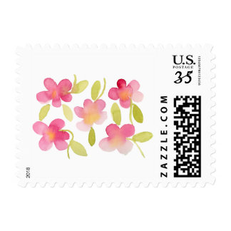 Pink Floral Watercolor Pattern Postage