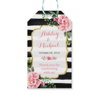 Pink Floral Watercolor Stripes Wedding Thank You Gift Tags