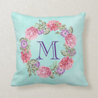 Pink Floral Watercolor Wreath Monogram Initial Throw Pillow