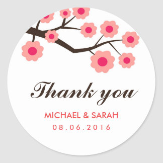 Pink Floral Wedding Favor Thank You Sticker
