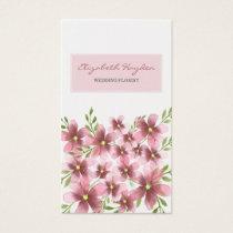 Pink Floral wedding florist Business Cards