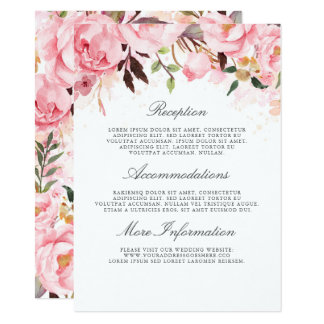 Pink Floral Wedding Information Guest Card
