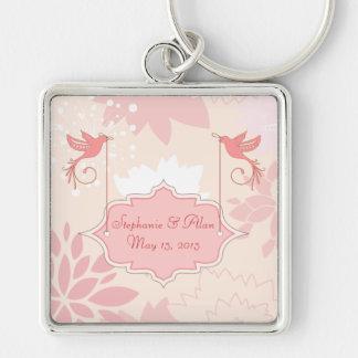 Pink Floral Wedding Keychain