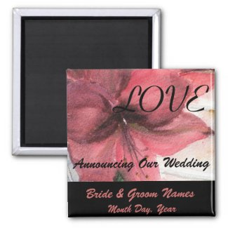Pink Floral Wedding Save the Date Magnet