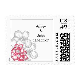 pink floral wedding save the date postage stamp