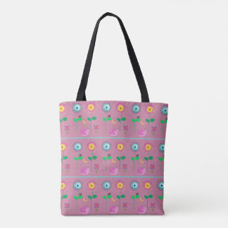 Pink Floral Whimsical Bag For Beach Or Shopping