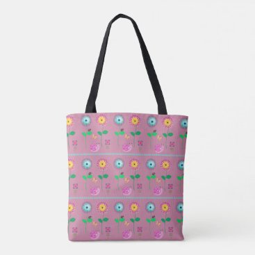 Beach Themed Pink Floral Whimsical Bag For Beach Or Shopping
