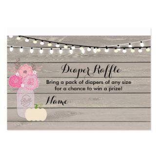 Pink Floral White Pumpkin Diaper Raffle Card