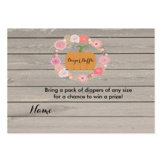 Pink Floral White Pumpkin Diaper Raffle Card 2