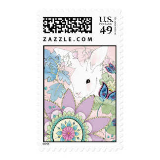 Pink Floral, White Rabbit (postage stamps)