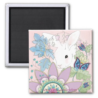 Pink Floral, White Rabbit (square magnet) 2 Inch Square Magnet