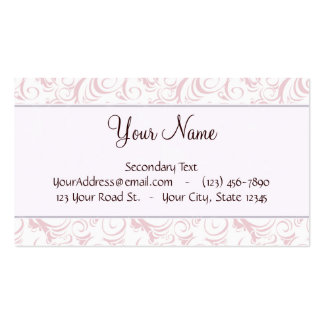 Pink Floral Wisps & Stripes with Monogram Business Cards