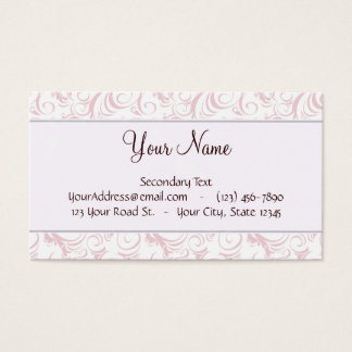 Pink Floral Wisps & Stripes with Monogram Business Card