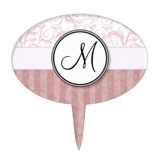 Pink Floral Wisps & Stripes with Monogram Cake Picks
