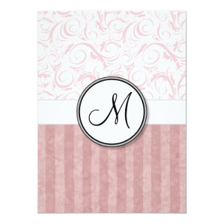 Pink Floral Wisps & Stripes with Monogram Card