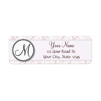 Pink Floral Wisps & Stripes with Monogram Label