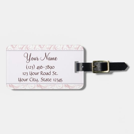 Pink Floral Wisps & Stripes with Monogram Luggage Tag
