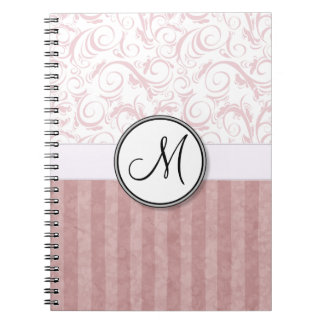 Pink Floral Wisps & Stripes with Monogram Notebook
