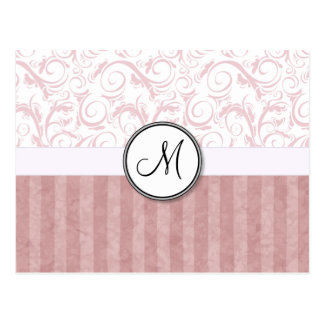 Pink Floral Wisps & Stripes with Monogram Postcard