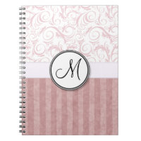 Pink Floral Wisps & Stripes with Monogram Spiral Notebook