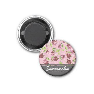 Pink Floral with Dark Grey Monogram 1 Inch Round Magnet