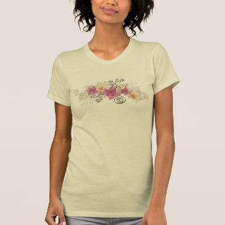 Pink Floral with Leaves Tshirt