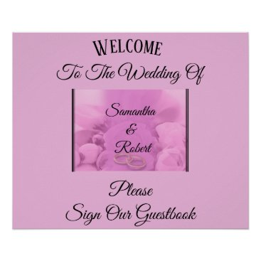 Wedding Themed Pink & Floral with Rings & greeting - Poster
