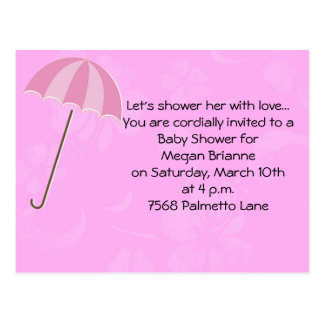 Pink Floral with Umbrella Baby Shower Invitation Postcard